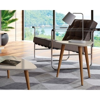 "Manhattan Comfort Utopia 19.68"" High Triangle End Table With Splayed Wooden Legs"