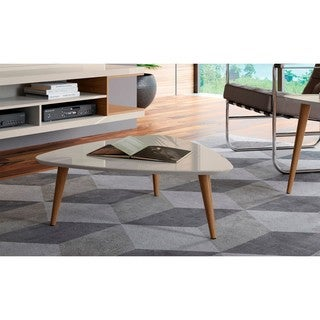 "Manhattan Comfort Utopia 11.81"" High Triangle Coffee Table with Splayed Legs"