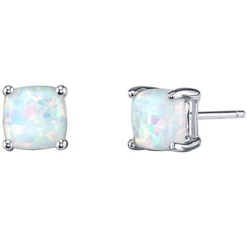 14K Oravo White Gold Cushion Cut Created Opal Stud Earrings