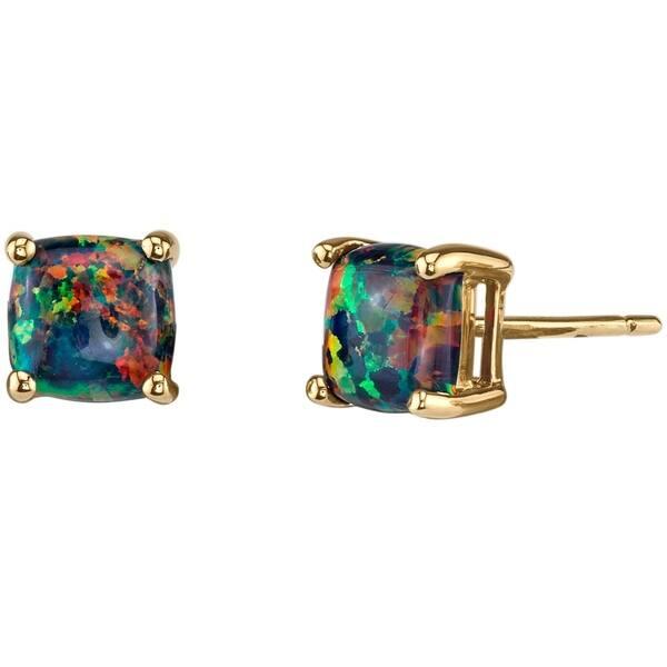 14k Oravo Yellow Gold Cushion Cut Created Black Opal Stud Earrings