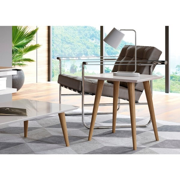 """Manhattan Comfort Utopia 19.68"""" High Square End Table With Splayed Wooden Legs"""