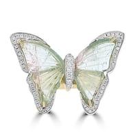 La Vita Vital 14K Yellow Gold Tourmaline 8.20TGW & Diamond 0.34cts Ring