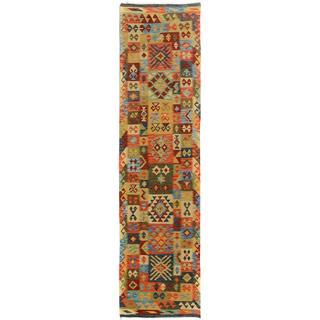 Arshs Fine Rugs Hand-Woven Kilim Arya Tyson Blue/Gold Wool Rug (2'10 x 9'10)