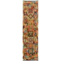 Arshs Fine Rugs Hand-Woven Kilim Arya Tyson Blue/Gold Wool Rug (2'10 x 9'10) - 3' x 10'