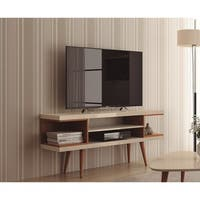 "Manhattan Comfort Utopia 53.14"" TV Stand with Splayed Wooden Legs and 4 Shelves"