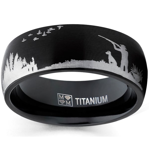 Mens Outdoors Bands: Shop Oliveti Men's Black Duck Hunting Titanium Ring
