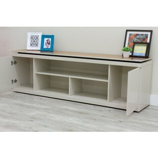 "Manhattan Comfort Vanlin 70.74"" TV Stand with 5 Shelving Spaces in Off White and Maple Cream"