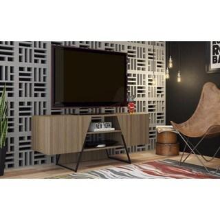 Manhattan Comfort Ellis Dark Oak/ Black 4-shelf TV Stand