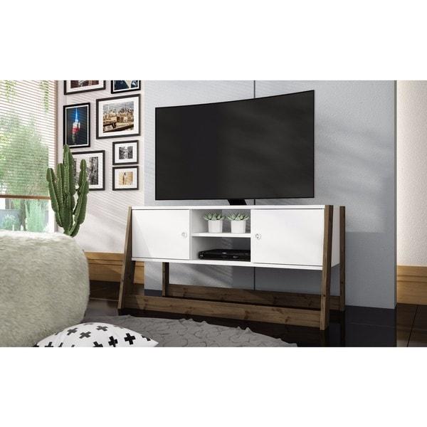Manhattan Comfort Salvador White/ Dark Oak 4-shelf TV Stand