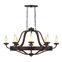 Elba  8 Light Oval Chandelier Oiled Copper