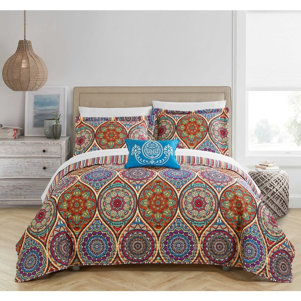 Chic Home Lena 8-Piece Reversible Globally Inspired Paisley Print Quilt and Sheet Set - Multi