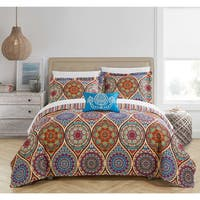 Chic Home Lena 8-Piece Reversible Globally Inspired Paisley Print Quilt and Sheet Set