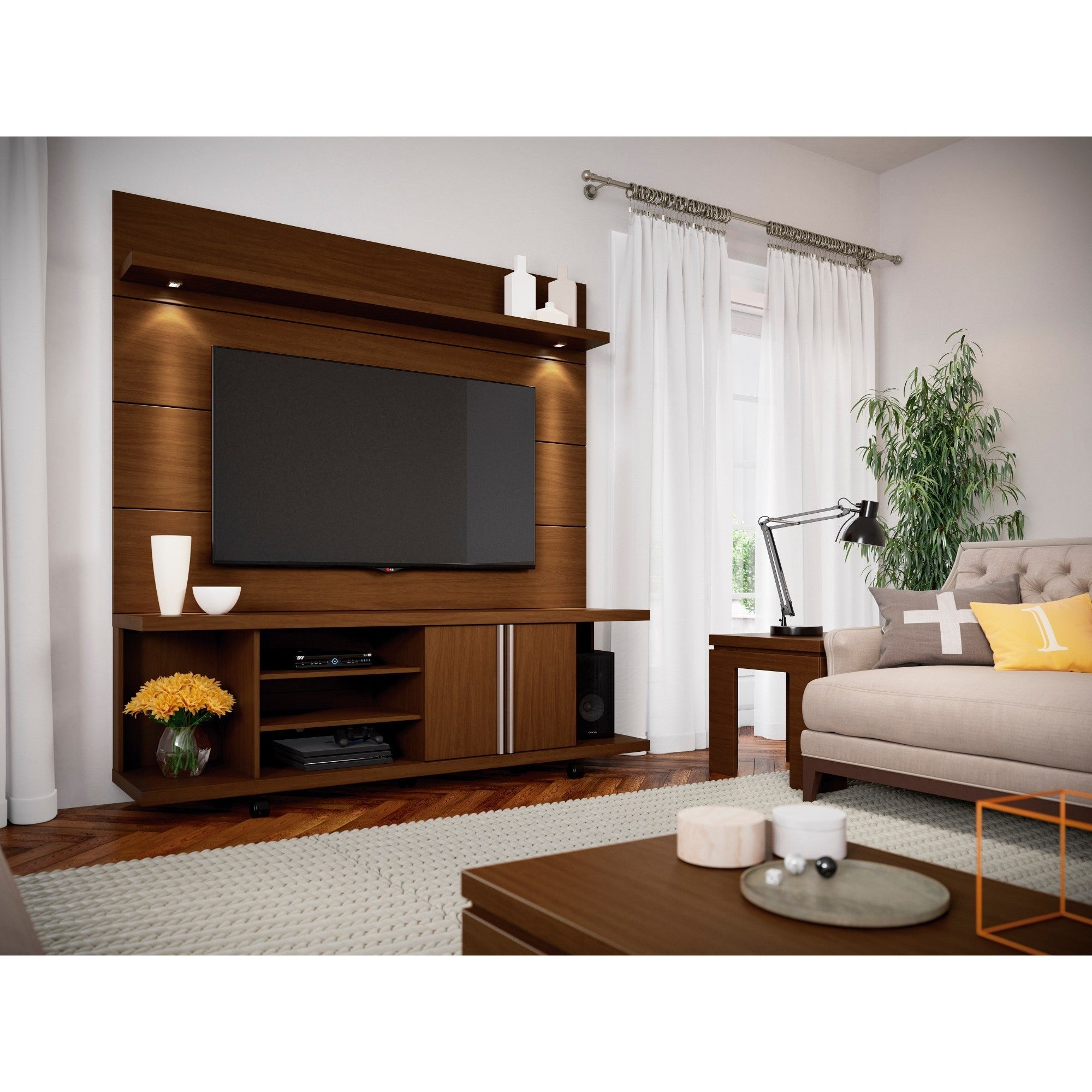 Manhattan Comfort Carnegie Tv Stand And Cabrini 1 8 Floating Wall Tv Panel With Led Lights Overstock 17439792