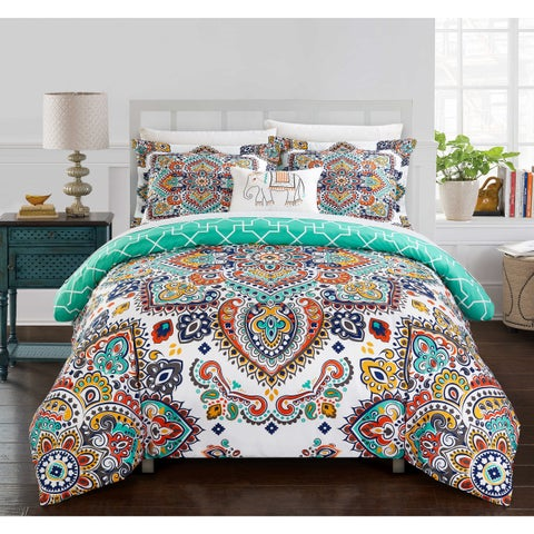 Chic Home Reece 8-Piece Reversible Aqua Blue Paisley Print Duvet Cover and Sheet Set