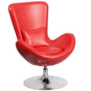 Curved Wing Design Red Swivel Adjustable Living Room Accent Chair
