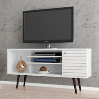 Manhattan Comfort Liberty Solid Wood Leg 5-shelf Single-door TV Stand