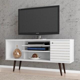Manhattan Comfort Liberty Solid Wood Leg 5 Shelf Single Door TV Stand