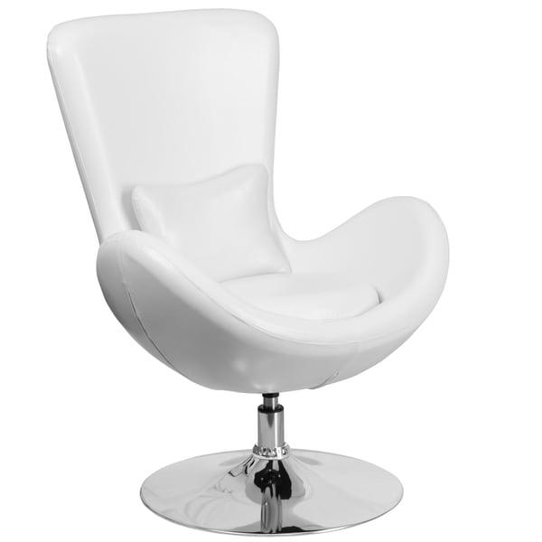 Shop Curved Wing Design White Swivel Adjustable Living