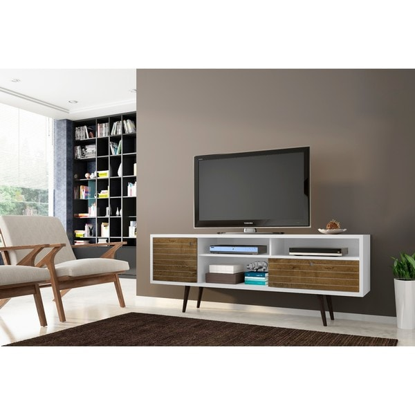 shop manhattan comfort liberty mid century modern tv stand with 4 shelving spaces and 1. Black Bedroom Furniture Sets. Home Design Ideas