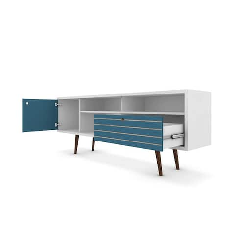 """Manhattan Comfort Liberty 70.86"""" Mid Century-Modern TV Stand with 4 Shelving Spaces and 1 Drawer with Solid Wood Legs"""