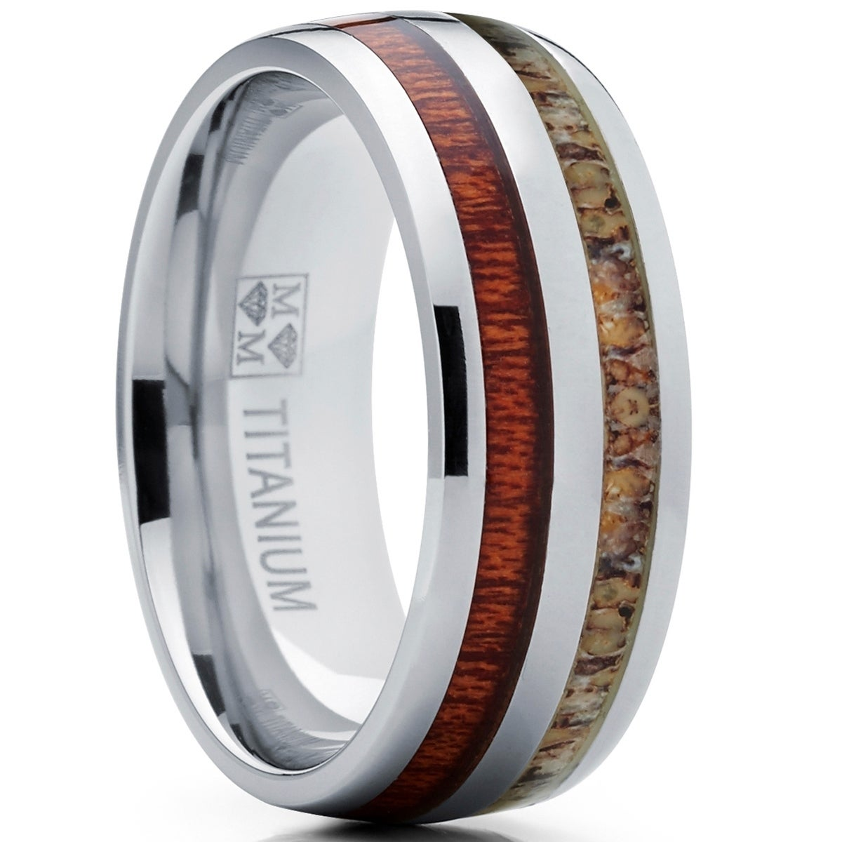 Oliveti Men's Hunting Dome Titanium Ring with Real Deer Antler and koa Wood Inlay Outdoor Band (10)