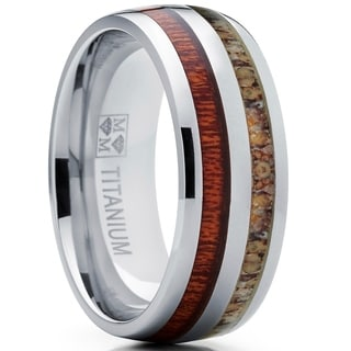 Oliveti Men's Hunting Dome Titanium Ring with Real Deer Antler and koa Wood Inlay Outdoor Band