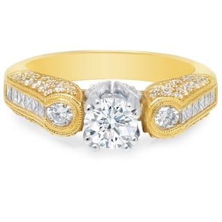 LeZari & Co.1.80ct TDW Vintage Style Engagement Ring, pavé and channel set, round and princess cut diamonds, with millgrain
