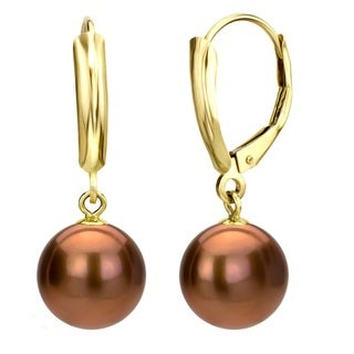 DaVonna 14k Yellow Gold Brown Round Freshwater Pearl High Luster Leverback Dangle Earring.