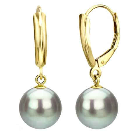 DaVonna 14k Yellow Gold Grey Round Freshwater Pear Leverback Dangle Earring.