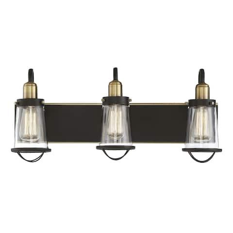 Carbon Loft Goldberg Metal and Glass English Bronze and Warm Brass 3-light Bath Bar