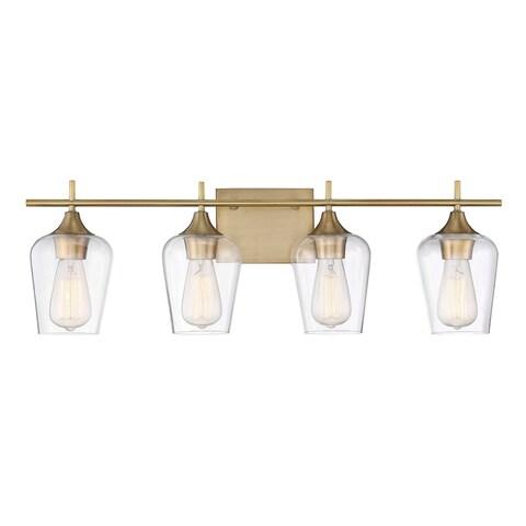 Octave 4 Light Bath Bar Warm Brass
