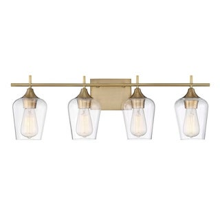 Octave 4 Light Bath Bar Warm Brass