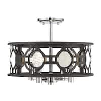 Chennal 4 Light Convertible Semi Flush Bronze and Chrome w/ Antique Mirror Accents
