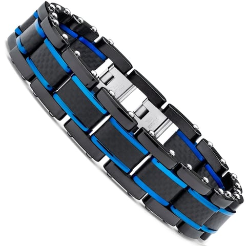 Oliveti Men's Stainless Steel Bracelet with Pure Solid Carbon Fiber Link 8.25""