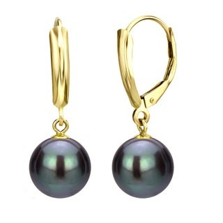DaVonna 14k Yellow Gold Black Round Freshwater Pearl High Luster Leverback Dangle Earring.