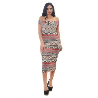 Women's Printed Cowlneck Off Shoulder Dress by Special One