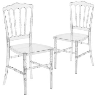 Flash Elegance Crystal Ice Napoleon Stacking Chair (Pack of 2)