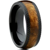 Oliveti Dome Black Titanium Wedding Band Ring with Real Wood Inlay, Comfort Fit 8mm