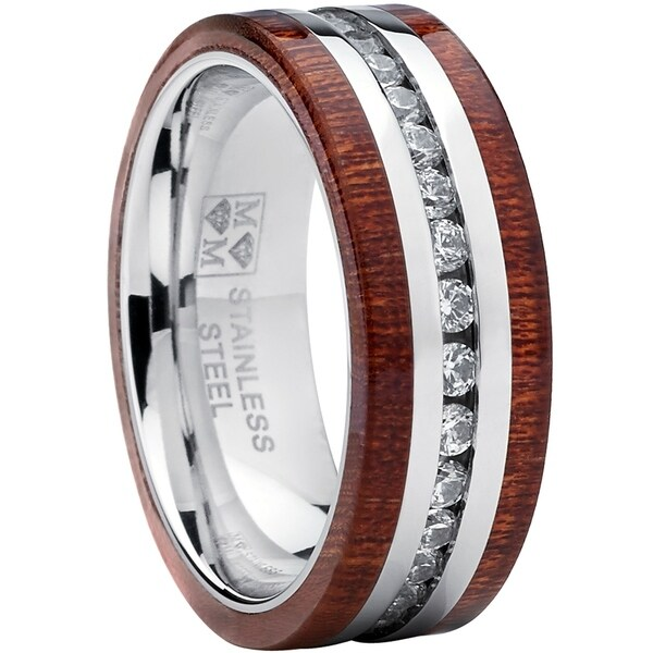 Oliveti Stainless Steel Eternity Cubic Zirconia And Wood Inlay Wedding Band Ring