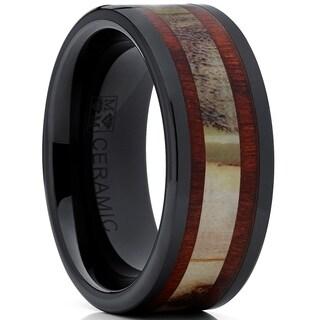 Oliveti Men's Ceramic Real Deer Antler and Koa Wood Wedding Band Ring Comfort Fit