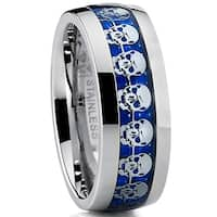 Oliveti Stainless Steel Ring Band with Blue Carbon Fiber and Skull design