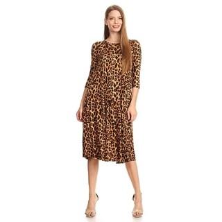 Women's Animal Pattern Pleated Bodice Dress