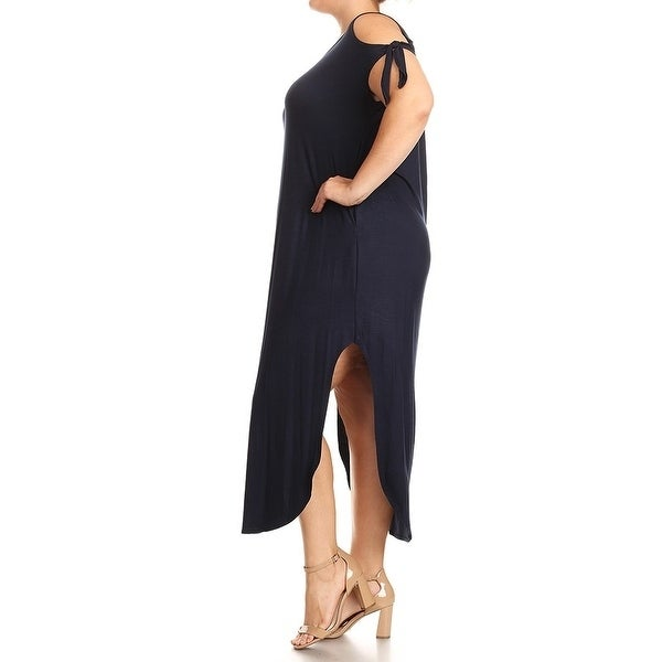 Women-039-s-Plus-Size-Solid-Color-Maxi-Dress-with-Side-Slits thumbnail 10