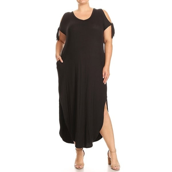 Women-039-s-Plus-Size-Solid-Color-Maxi-Dress-with-Side-Slits thumbnail 8
