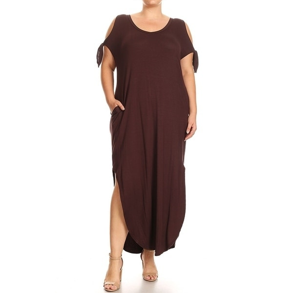 Women-039-s-Plus-Size-Solid-Color-Maxi-Dress-with-Side-Slits thumbnail 9