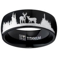 Oliveti Men's Black Outdoor Hunting Titanium Ring Band Laser Etched Deer Stag Scene