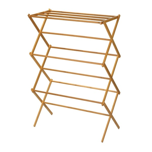 Shop Bamboo X Frame Clothes Drying Rack Free Shipping