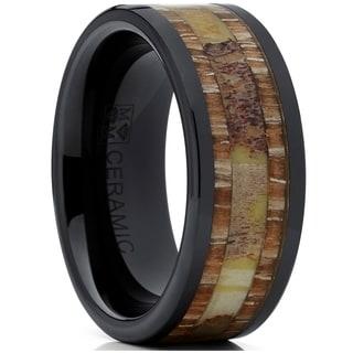 Oliveti Men's Ceramic Real Deer Antler and Wood Wedding Band Ring Comfort Fit