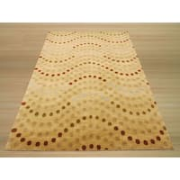 Hand-knotted Wool Beige Soho Dots Rug (6' x 9')