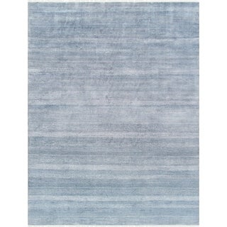 "Pasargad Transitiona Blue/Ivory Bsilk&wool Area Rug (10' 0"" X 13' 3"")"